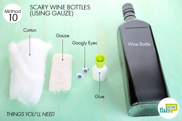 things you'll need to make scary wine bottle halloween decoration