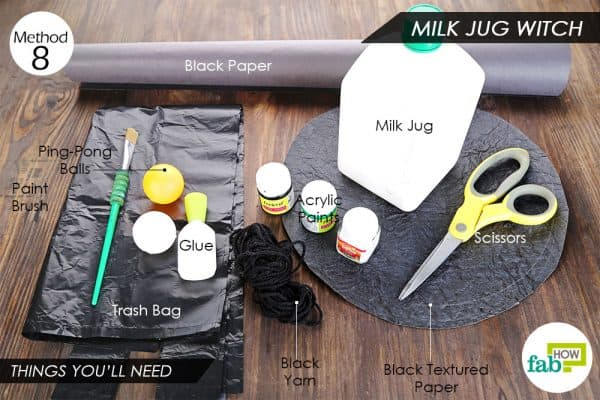 Things needed to make DIY Halloween decorations-milk jug witch