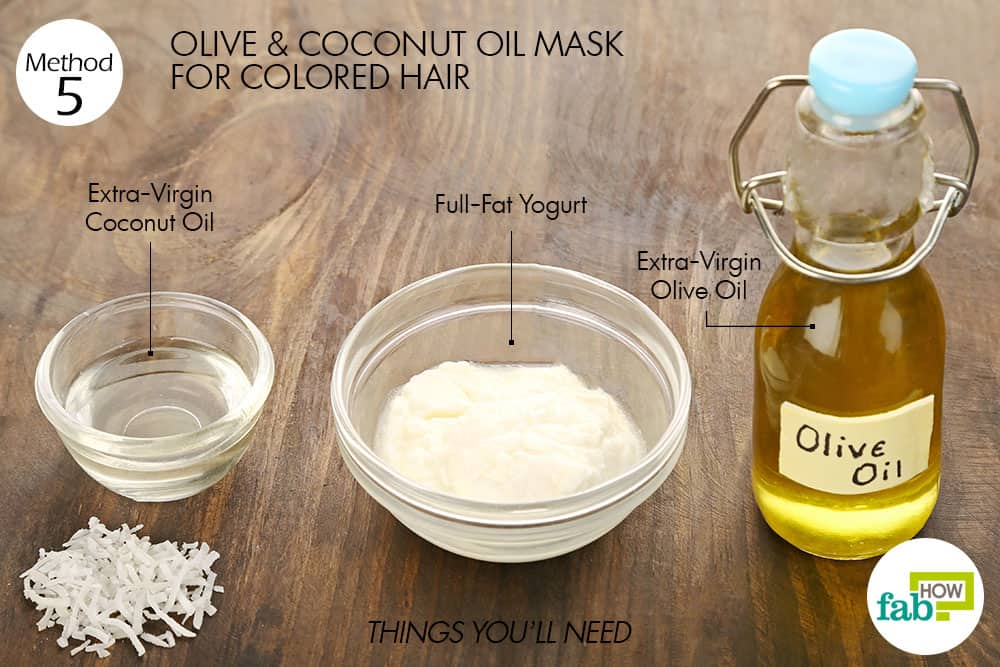 things you'll need to make olive oil hair mask for colored hair