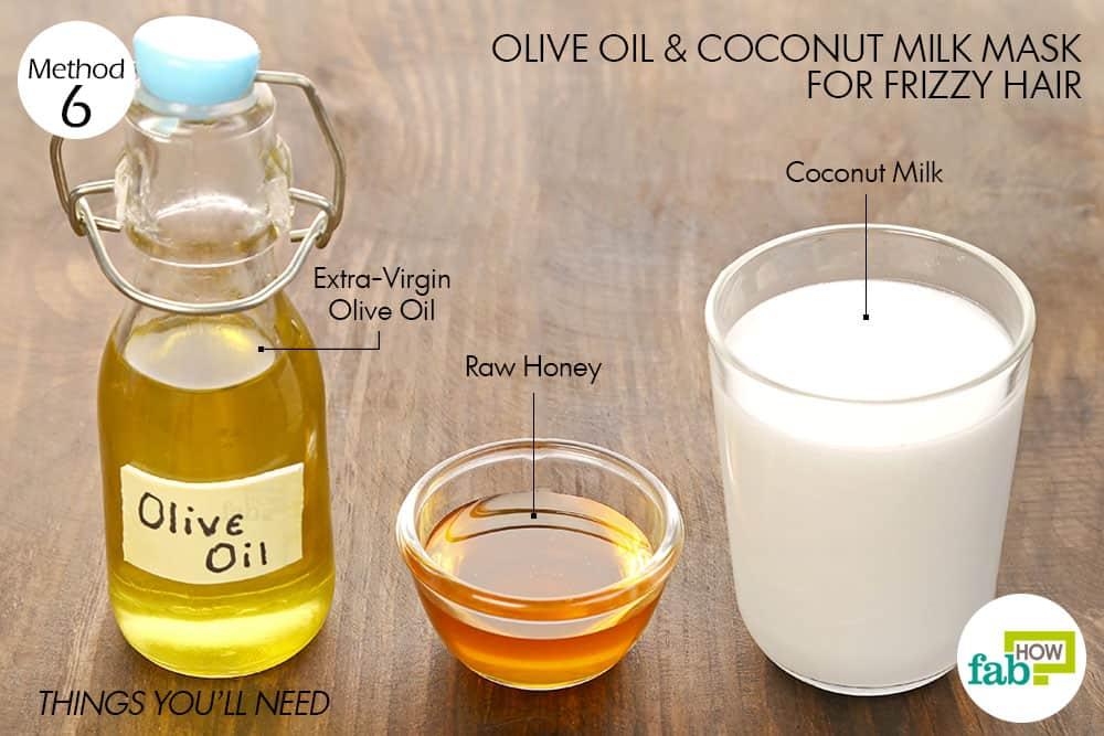 things you'll need to make olive oil hair mask for frizzy hair