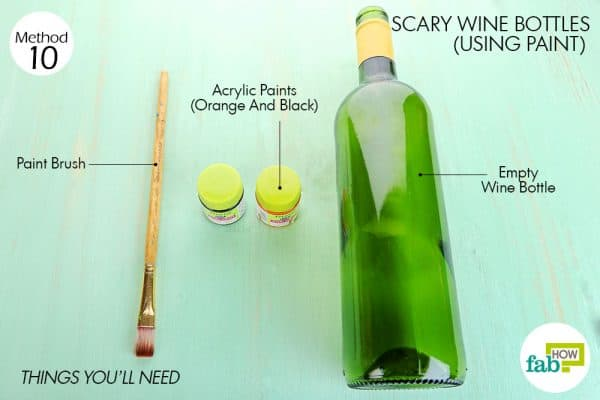 things you'll need to make halloween decoration scary wine bottle using paint