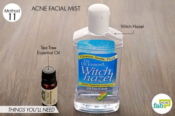 Things needed to make acne facial mist using witch hazel