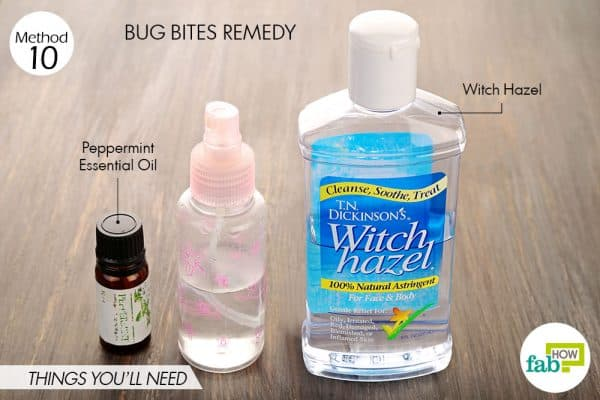 Things needed to treat bug bites using witch hazel