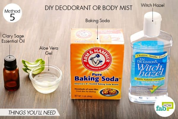 Things needed to make deodorant using witch hazel