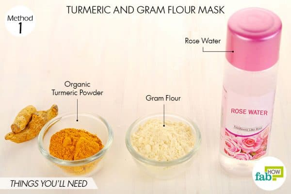 Things needed to make DIY turmeric and gram flour mask for acne and pimples