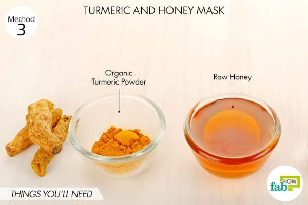 Things needed to make DIY turmeric and honey mask for acne and pimples