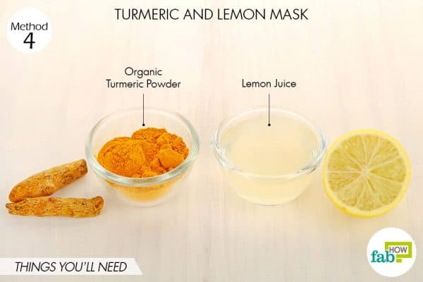 Things needed to make DIY turmeric and lemon mask for acne and pimples