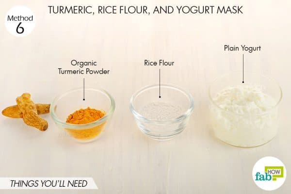 Things needed to make DIY turmeric, rice flour and yogurt mask for acne