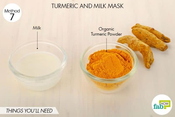 Things needed to make DIY turmeric and milk mask for acne and pimples