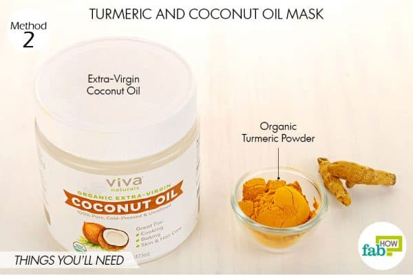 Things needed to make DIY turmeric and coconut oil mask for acne and pimples