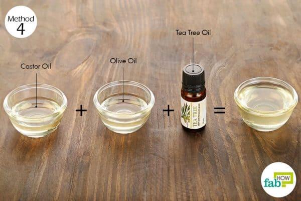 Use olive oil, tea tree oil and castor oil for hair growth
