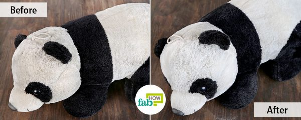 before and after using baking soda and vinegar to clean stuffed toys