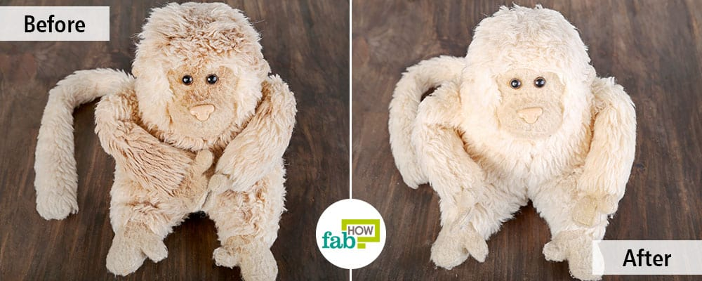 Before and after using baking soda to clean stuffed toys