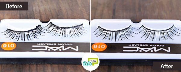 Clean false eyelashes with liquid dish soap
