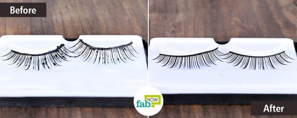 Clean false eyelashes with rubbing alcohol
