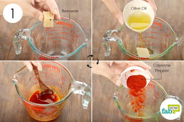 Combine beeswax, olive oil and cayenne pepper in a Pyrex glass to make DIY cream for arthritis