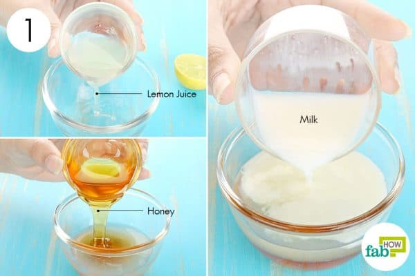 Combine lemon juice, honey and milk to use lemon for acne