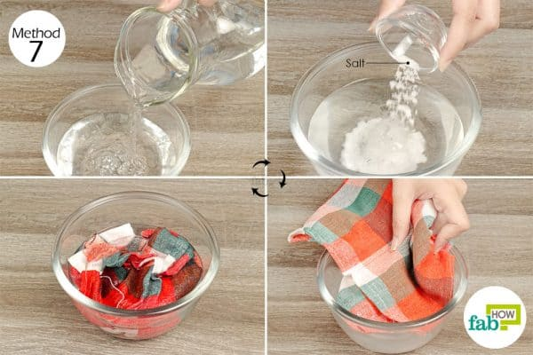 soak the garment in salt solution for color fastening laundry hack