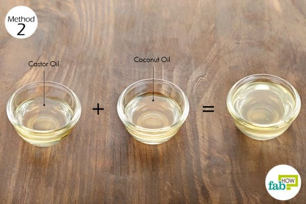 Mix coconut oil and castor oil for hair growth