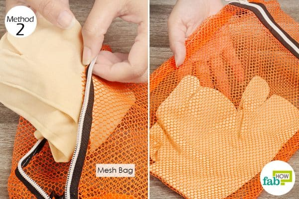 Put socks in a mesh bag for laundry hack