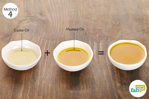 Apply a blend of mustard and castor oil for hair growth