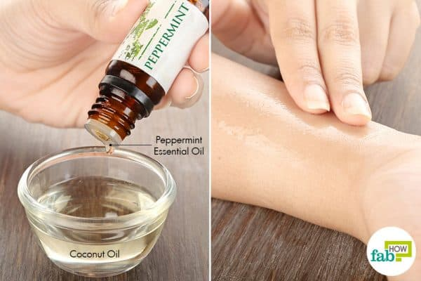 Combine peppermint essential oil with coconut oil and apply to get rid of itchy skin