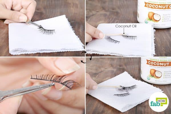 Use coconut oil to clean false eyelashes