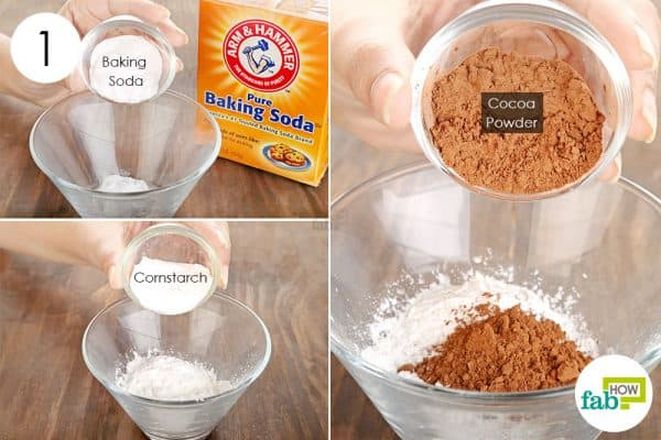 Combine baking soda, cocoa powder and cornstarch to make diy dry shampoo