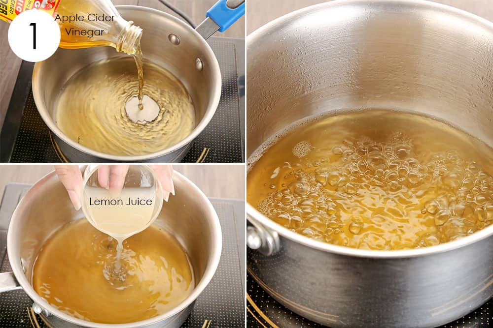 boil apple cider vinegar and lemon juice to use ginger for cold or flu