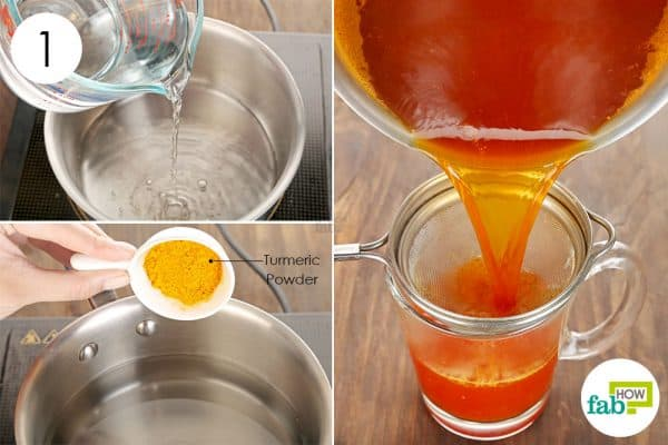 Mix turmeric in water and bring it a boil to use turmeric for sore throat