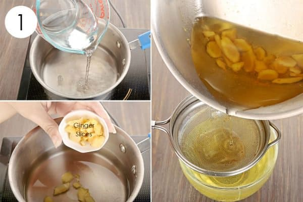 Boil ginger slices in water to use ginger for cold or flu