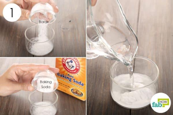 Use borax to treat toenail fungus with baking soda and water