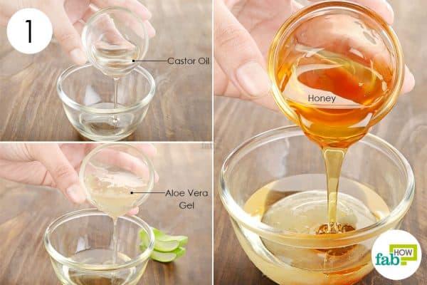 Combine honey, aloe vera gel and castor oil for hair growth
