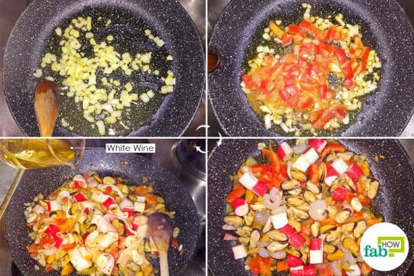 cook seafood with garlic onions and tomatoes to make seafood pasta