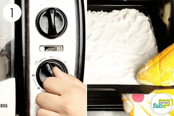 Bake baking soda for 1 hour for washing soda laundry hack