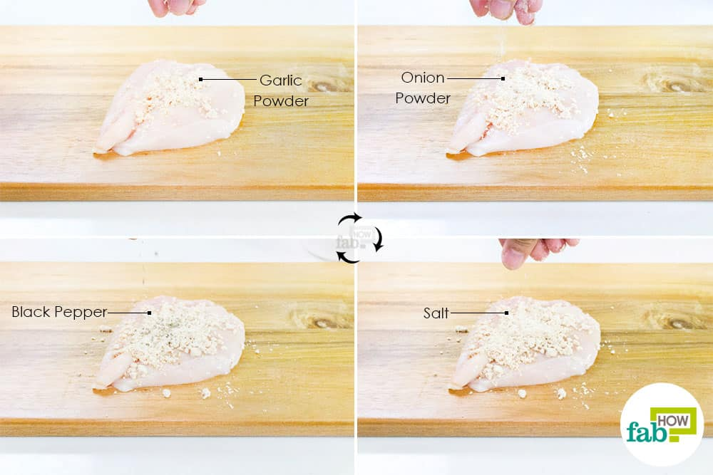 Season the chicken breast to make Chicken Parmesan