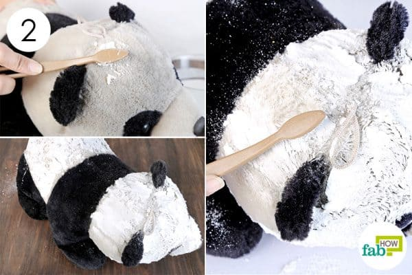 Apply the paste over the toy and scrub it with a toothbrush to clean stuffed toys
