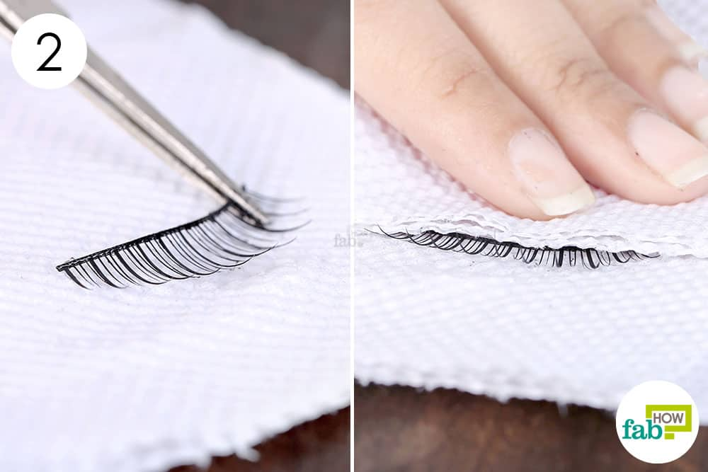 Blot with a paper towel to clean false eyelashes