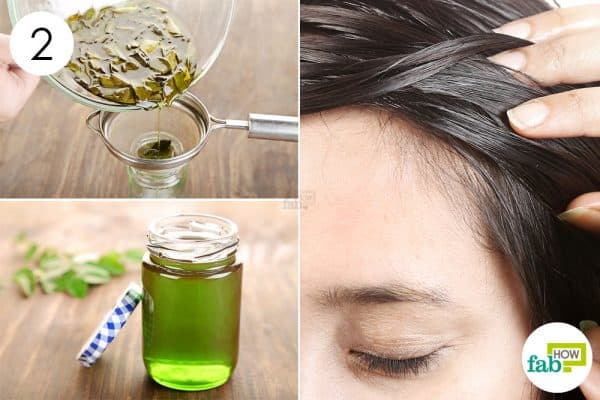 Strain and apply the curry leaves-infused castor oil for hair growth