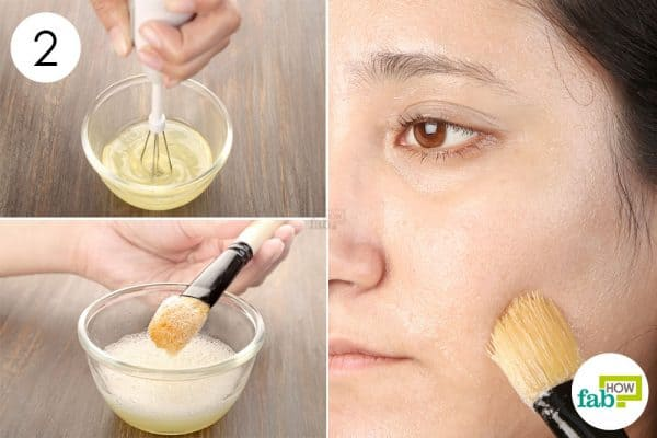 Blend well to make egg white face mask and apply