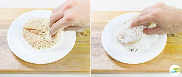 Coat with flour to make Chicken Parmesan