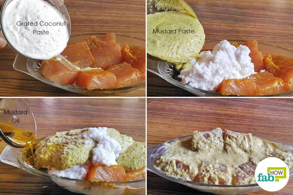 marinate the fish to make bhetki macher paturi, the most popular Bengali fish recipe
