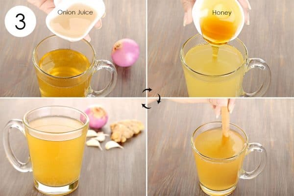 Add onion juice and honey to use ginger for cold or flu