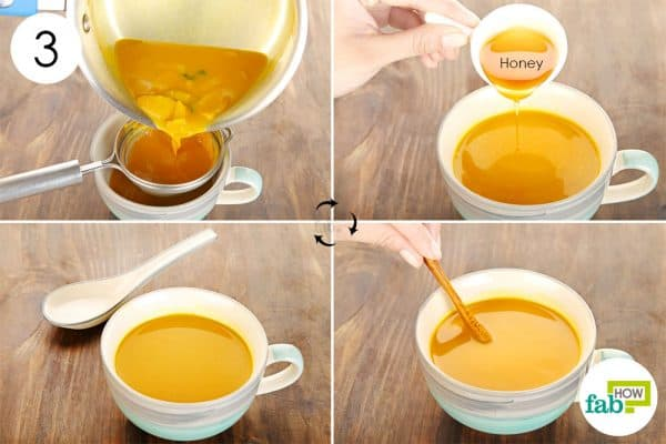 Add in honey and consume the soup to use turmeric for sore throat