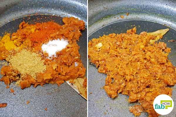 Add spices to the gravy to make North Indian egg curry