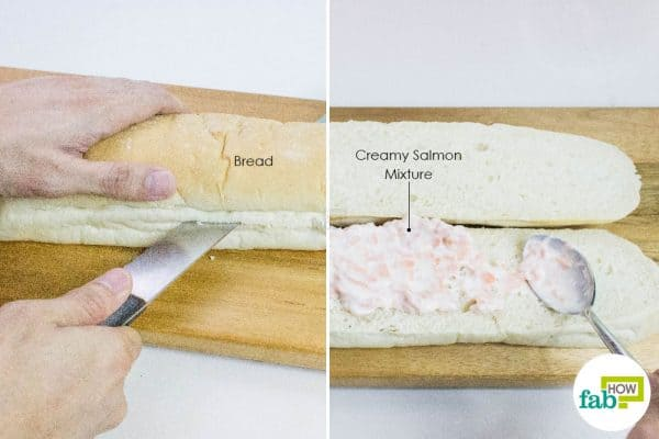 cut bread lengthwise to make salmon sandwich
