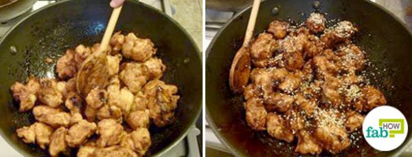 mix the chicken and sauce in a pan to make Coca-Cola chicken
