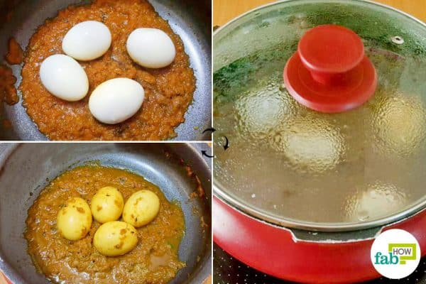 Add eggs to the gravy to make North Indian egg curry
