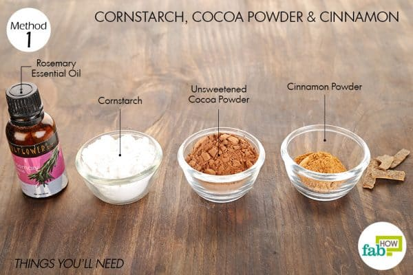things you'll need to make diy dry shampoo for dark hair using cornstarch