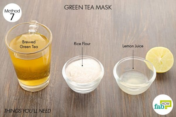 Things needed to make green tea mask for glowing skin